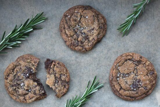 brown butter chocolate chip cookies with rosemary