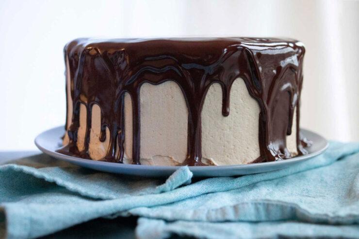 chocolate coffee cake with dark chocolate ganache