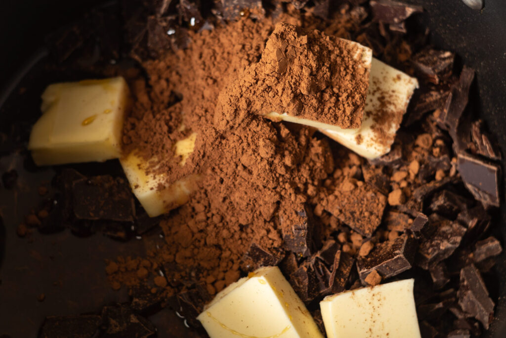 chocolate, butter, cocoa powder, and honey in a saucepan