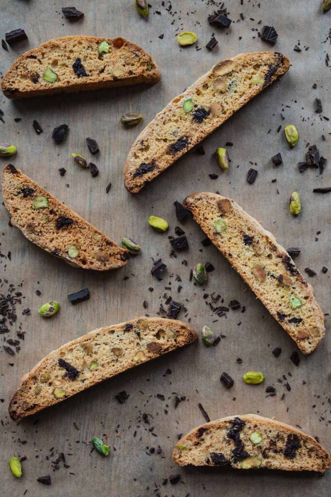 Pistachio chocolate chip biscotti cookies
