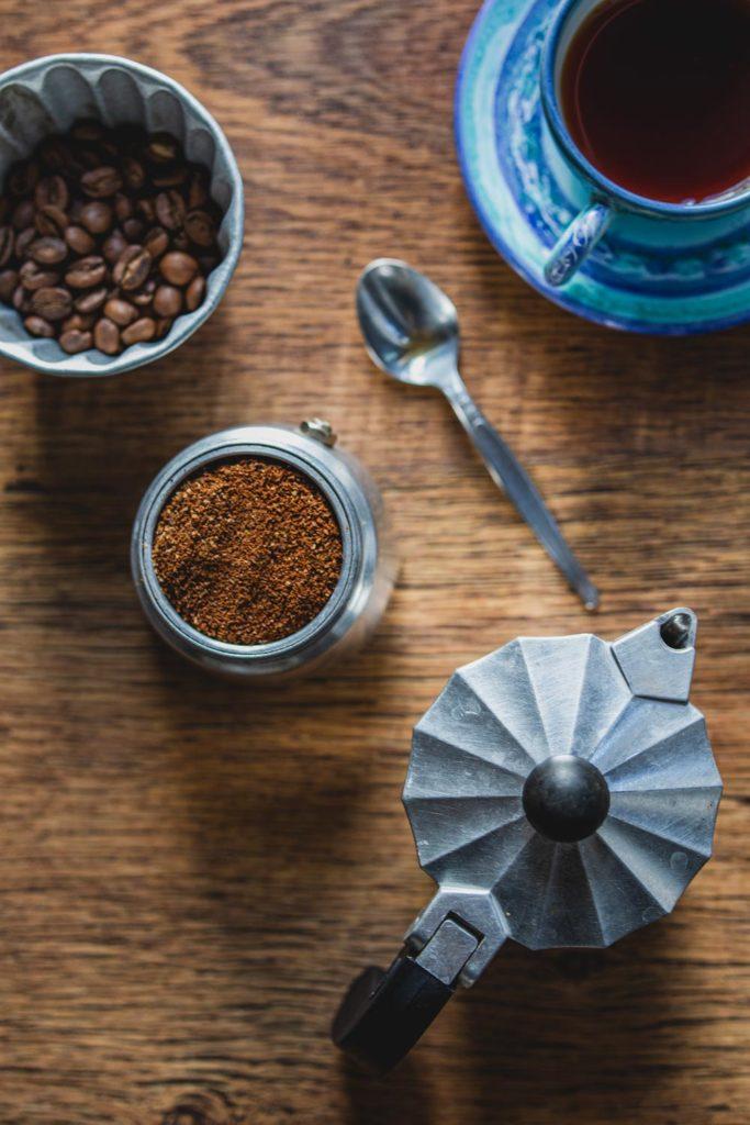 freshly brewed moka pot espresso