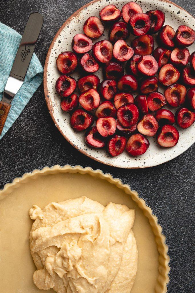assembling the cherry frangipane tart