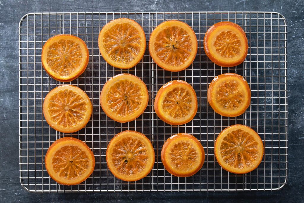 tray of candied orange slices