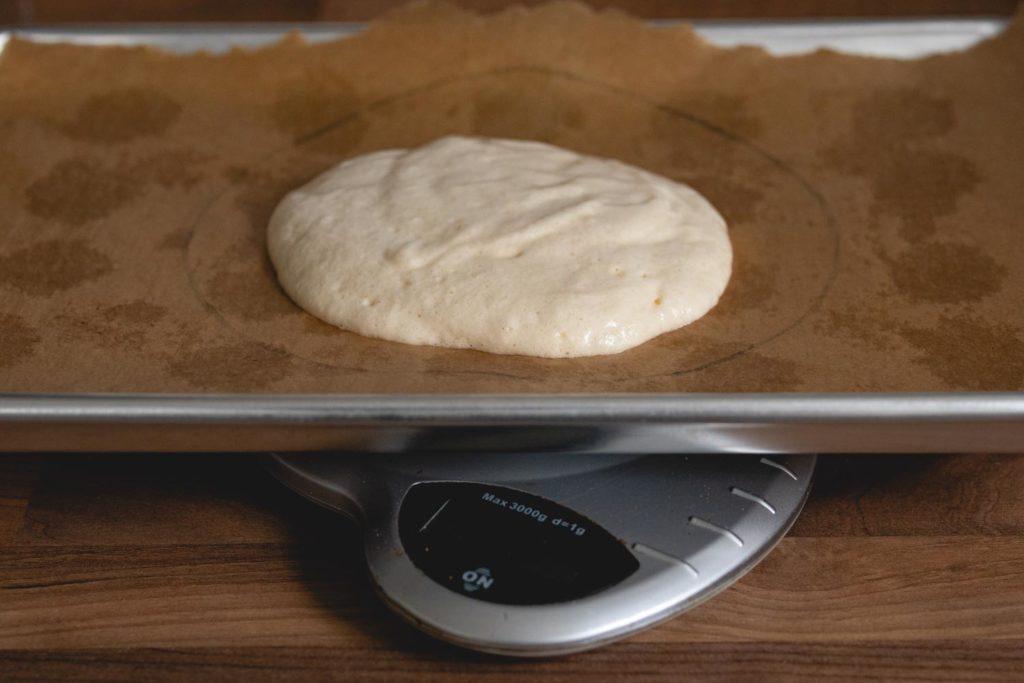 scale the sponge cake layers
