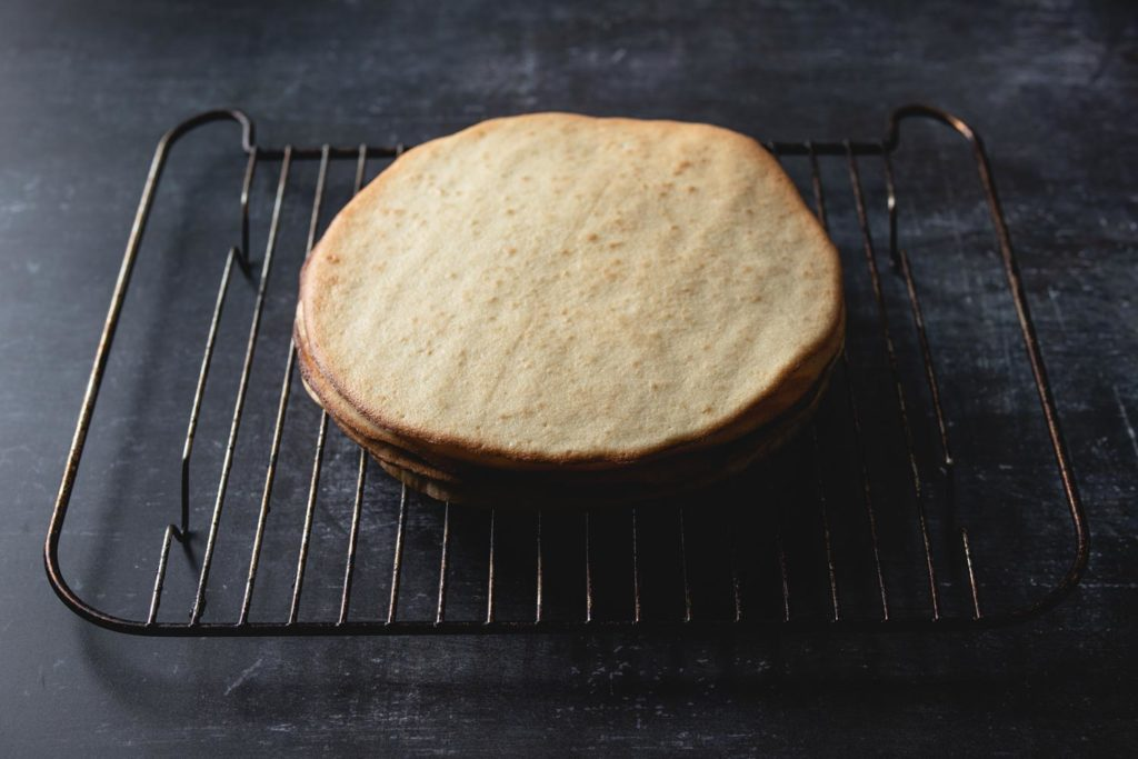 cooling rack with sponge cake layers
