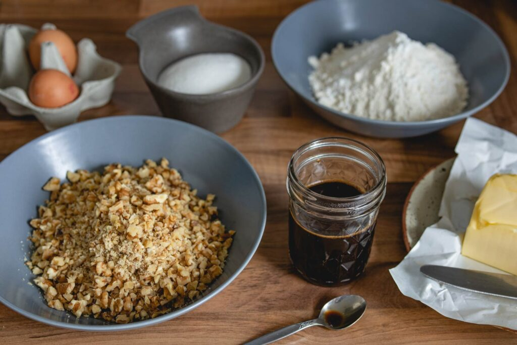 ingredients for rustic coffee walnut cake