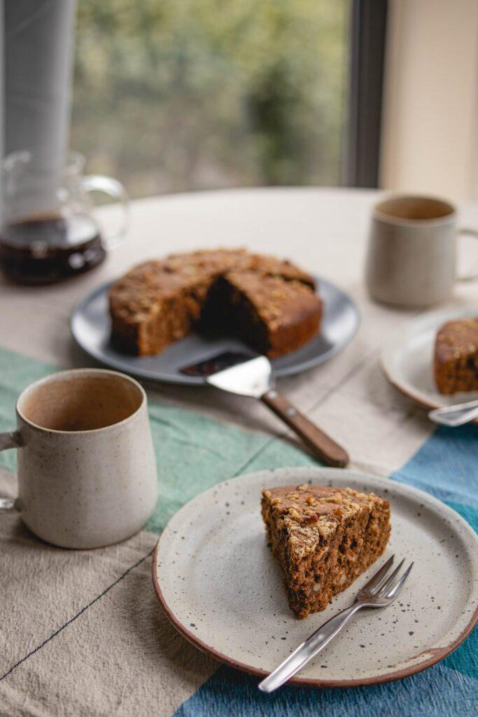 rustic coffee walnut cake