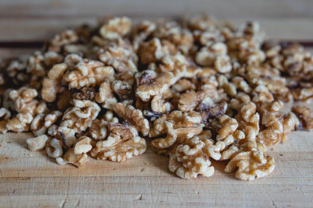 walnuts on a chopping board