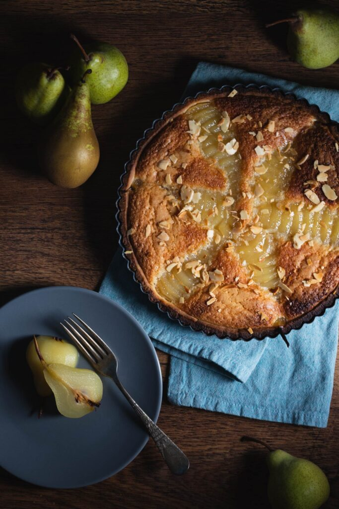 pear frangipane tart or bourdaloue tart