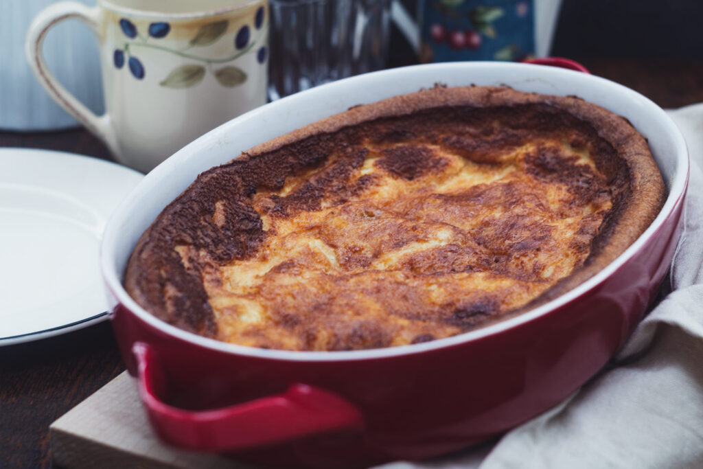 far breton in a red casserole dish