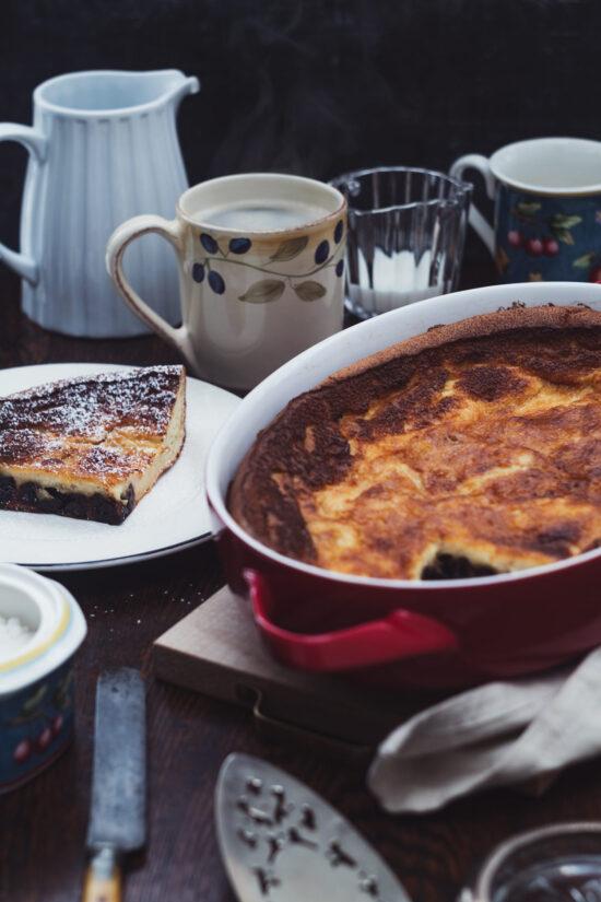 Far Breton sliced with coffee