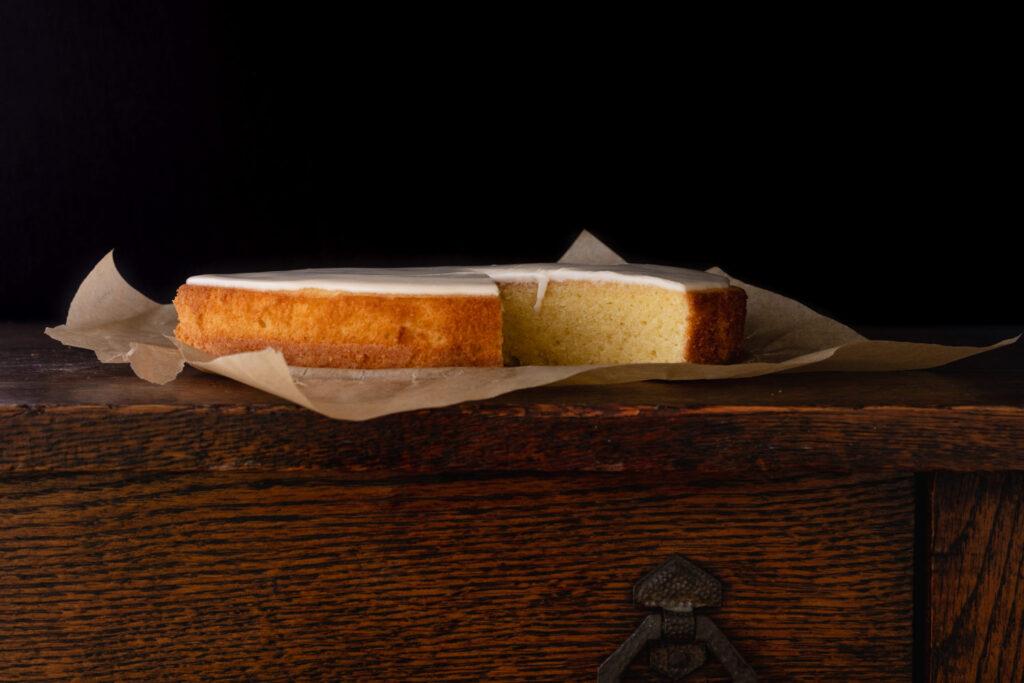 gateau nantais rum cake on a wooden desk