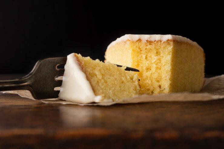 slice of gateau nantais with fork