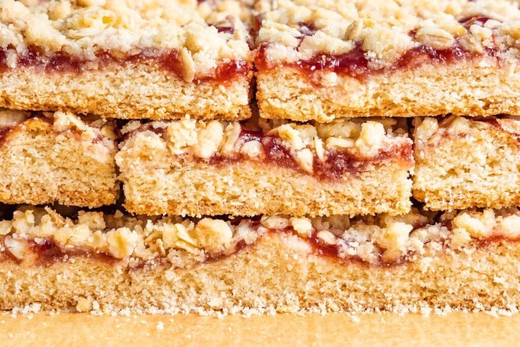 stack of strawberry jam squares